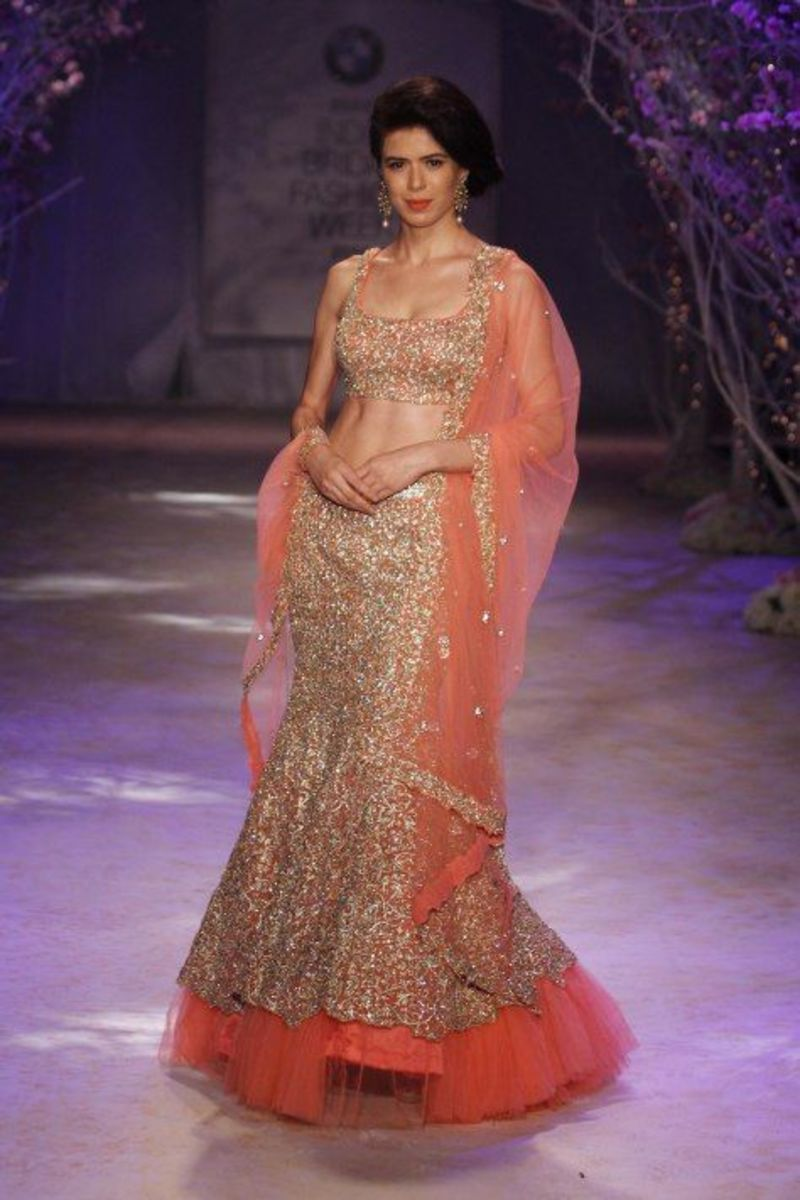 Peach mermaid (fish-cut) bridal lehenga