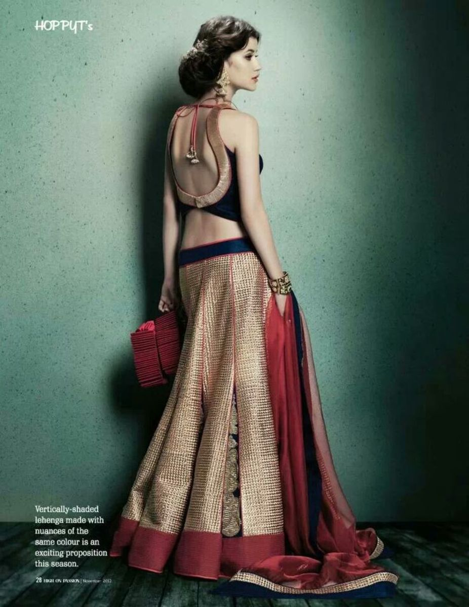 Bronze, navy, and crimson a-cut lehenga.