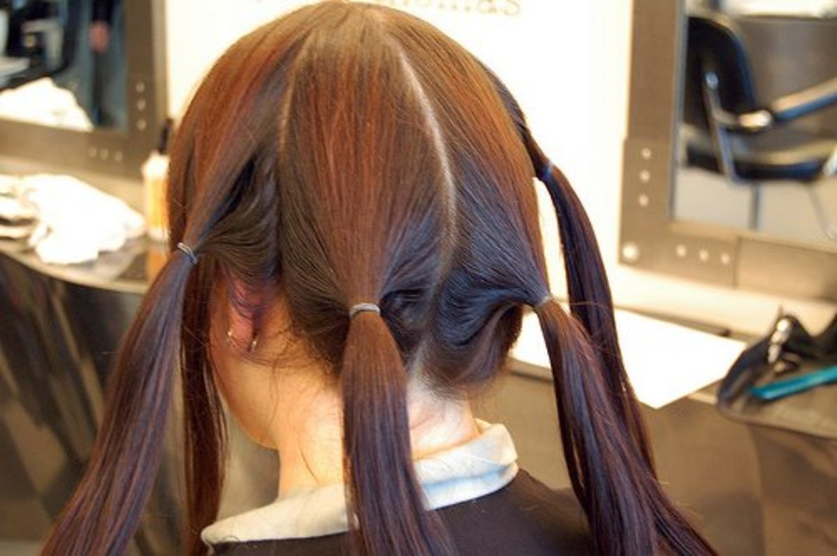 Hair sectioned before dyeing.