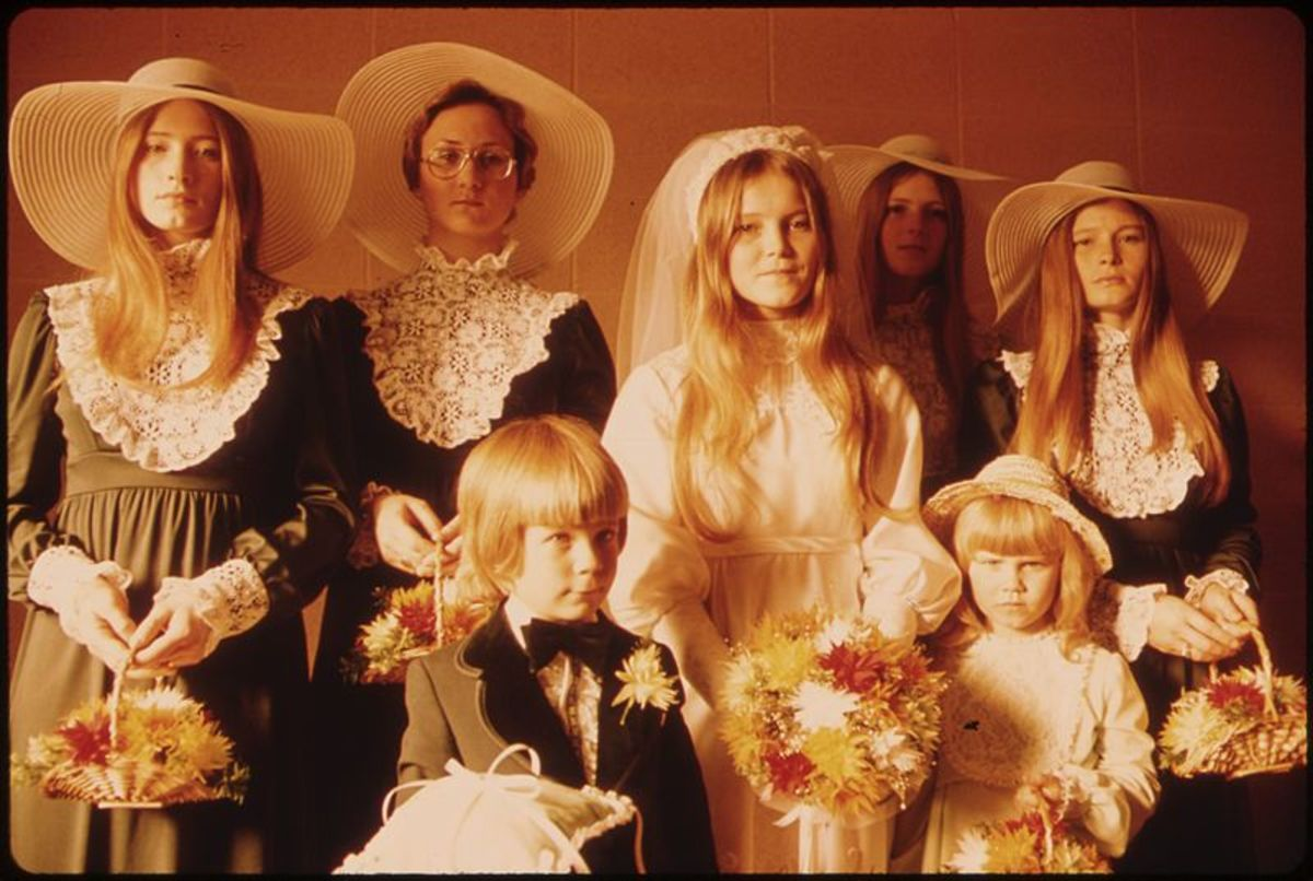 A quaint historical style featuring elements of Victorian and Edwardian fashions was popular at weddings during the 1970's.