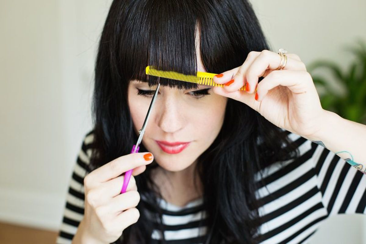 Especially for bang trims, ALWAYS hold the scissors vertically, not horizontally.