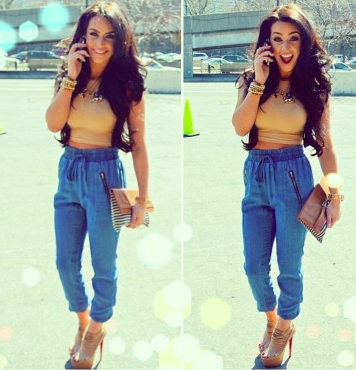 High heels look amazing with joggers, especially on petite girls.