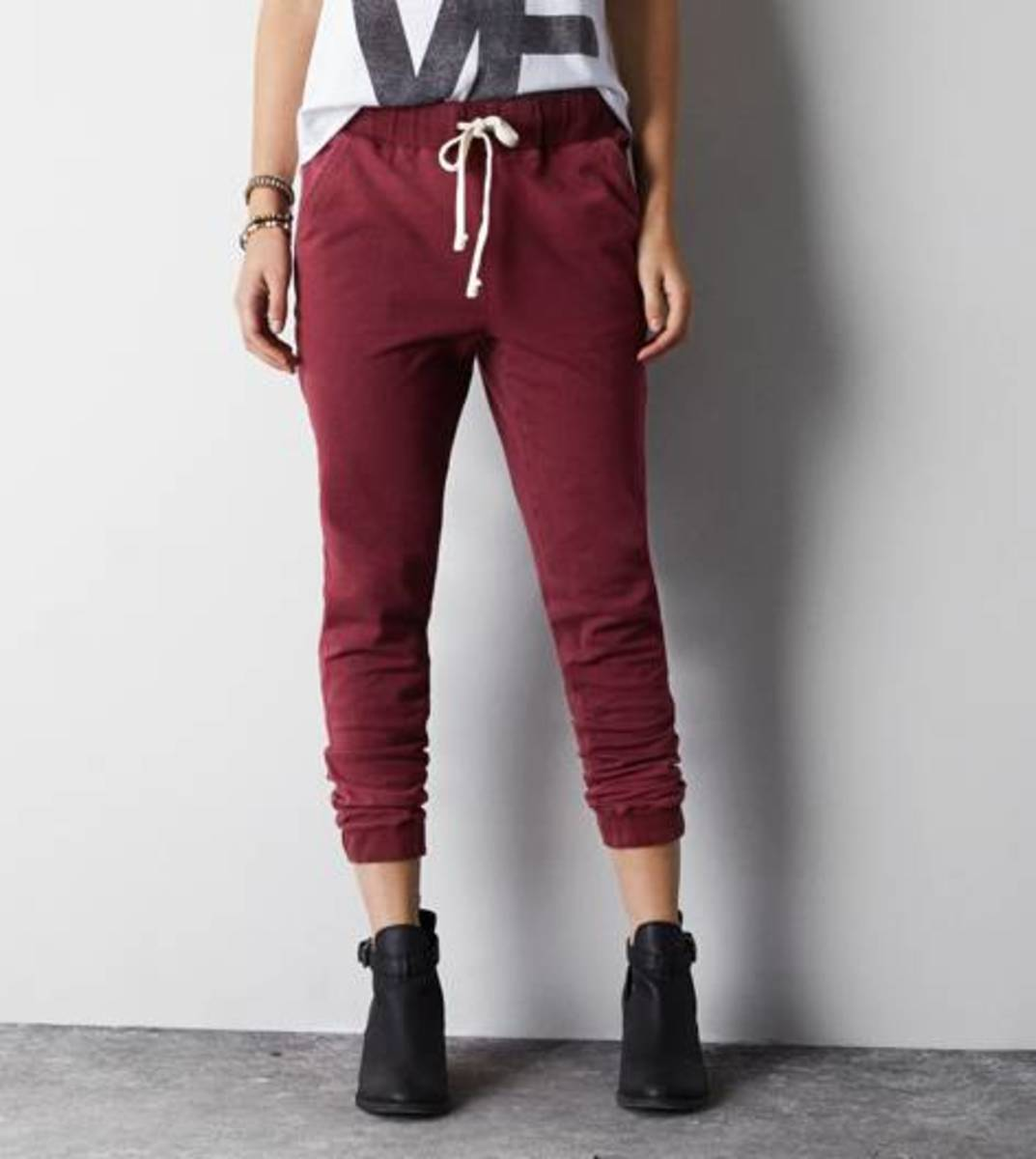 Maroon jogger pants. Love this color for fall.