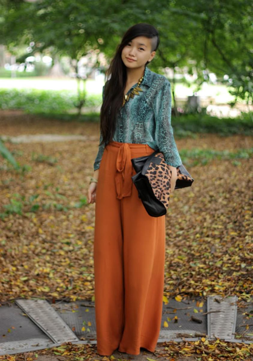 Spice-orange jogger pants (an un-cropped style).