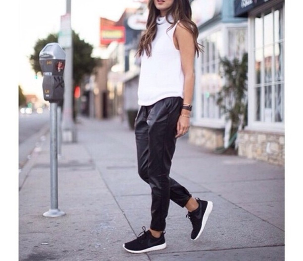 These leather jogger pants look fantastic with sneakers.