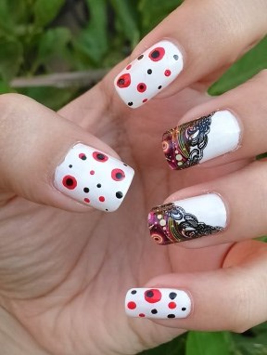 French Manicure style with Red Black polka dots and China Glaze Nail Polishes