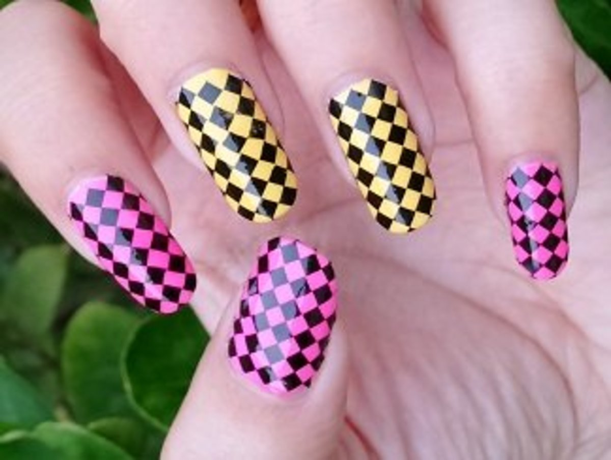 Black Full Nail Check Nail Art on pink and yellow nail polish base