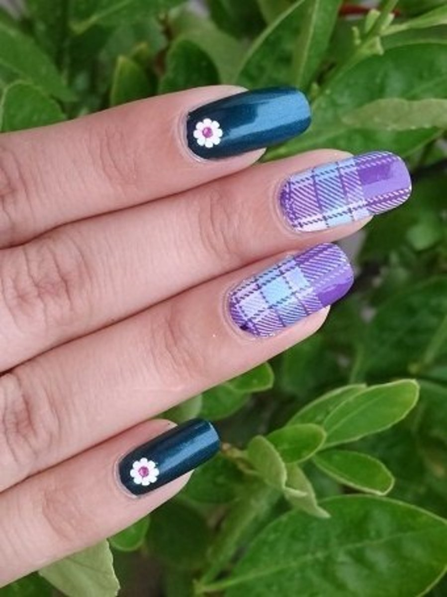 Scottish Plaid style full nail water decal decal nail art with 3D white decals and China Glaze Autumn collection