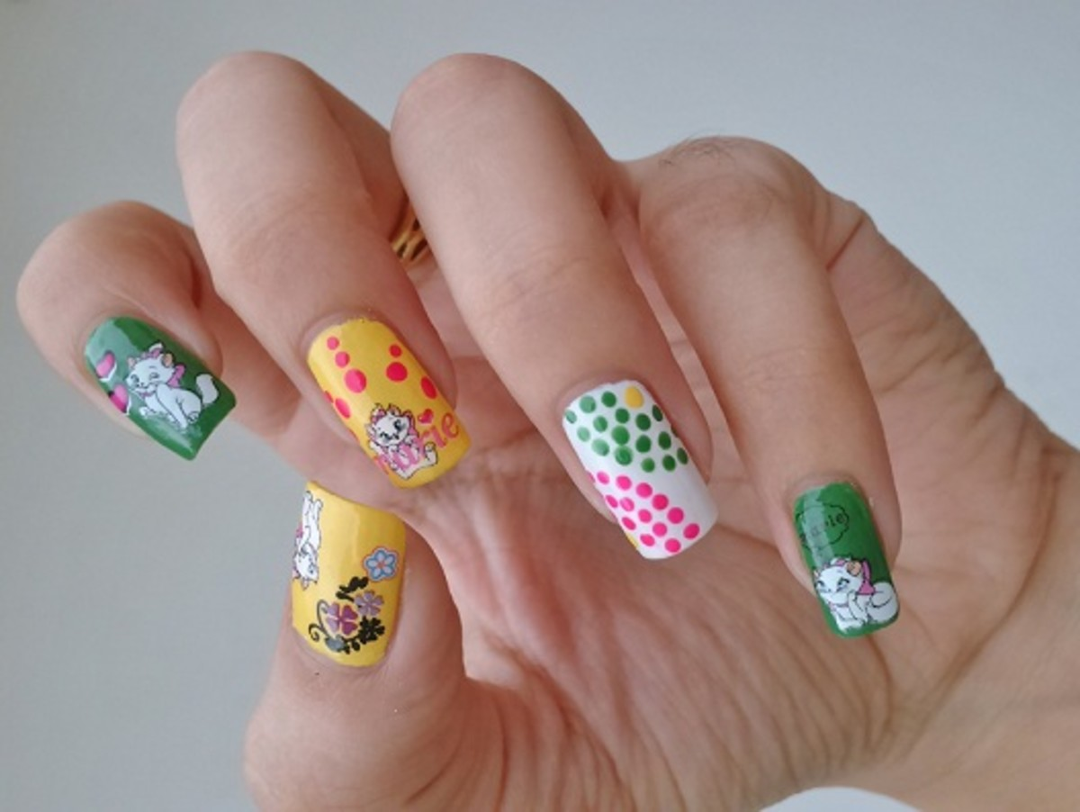 Cute Cat decals for nail art with polka dots and china glaze nail polishes