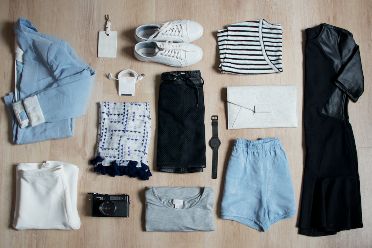 Mix-and-match a capsule wardrobe to make multiple outfits.