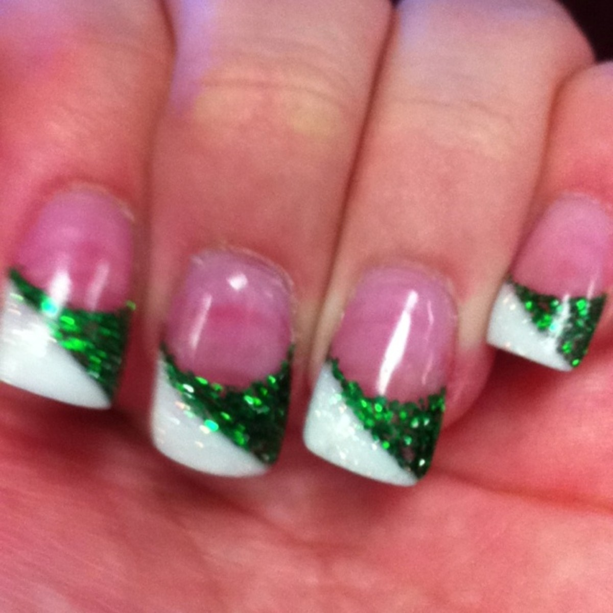 green and white nail tips