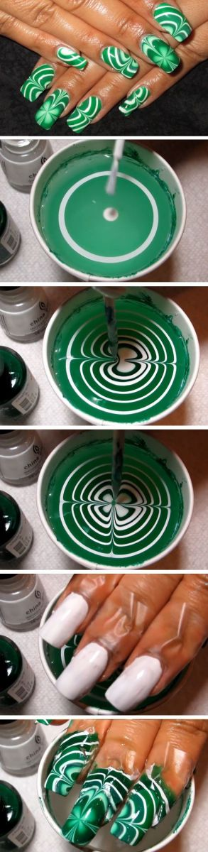 Water Marble Shamrocks | Easy St Patricks Day Nail Designs