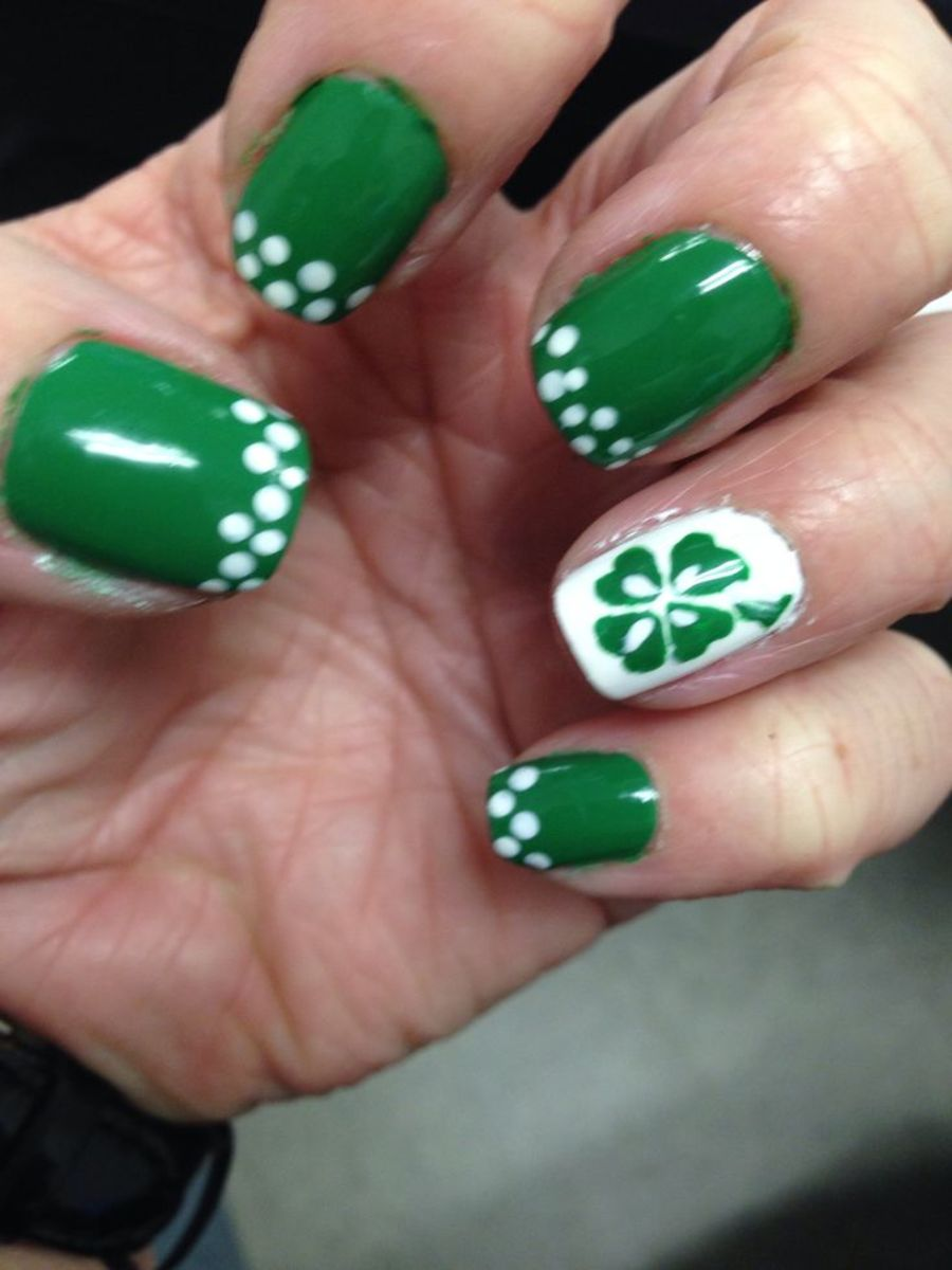 green decorated nails