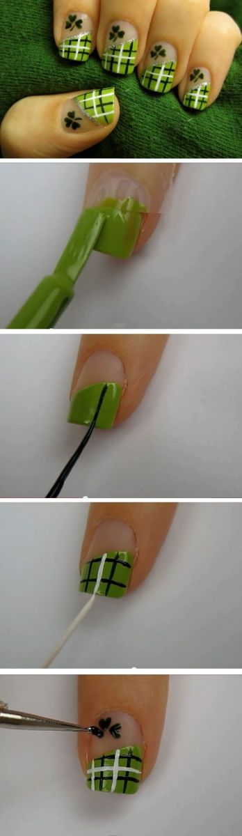 Lucky Green Plaid | Easy St Patricks Day Nail Designs