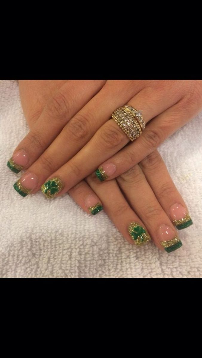 green and gold glittery nail tips