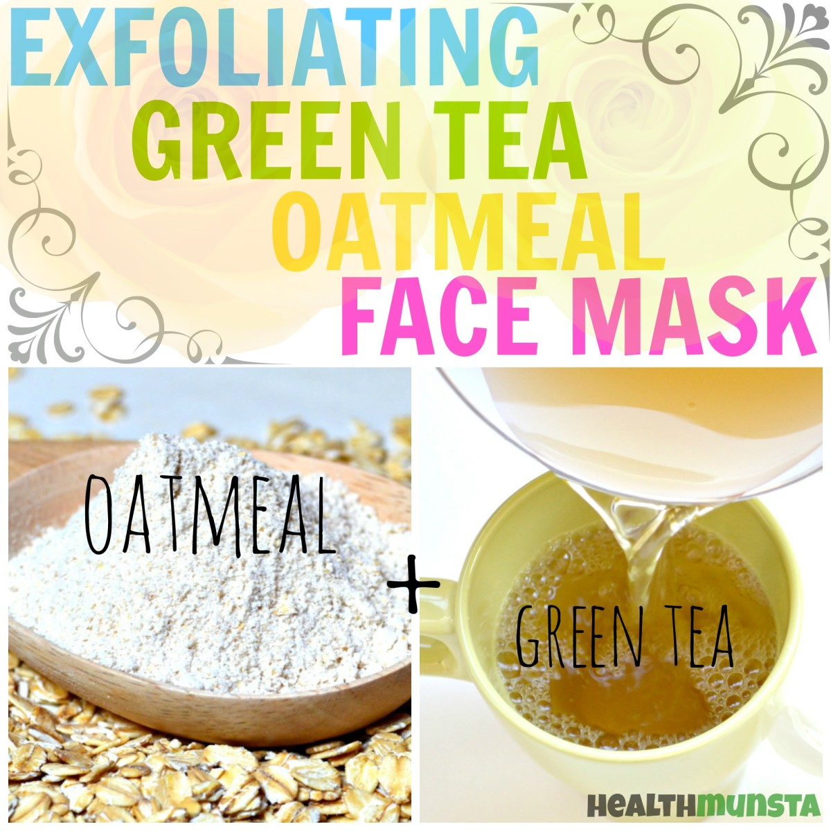 This green tea oatmeal face mask will gently exfoliate dead cells & flaky skin and pull out grime, dirt, sebum and pollution from the pores.