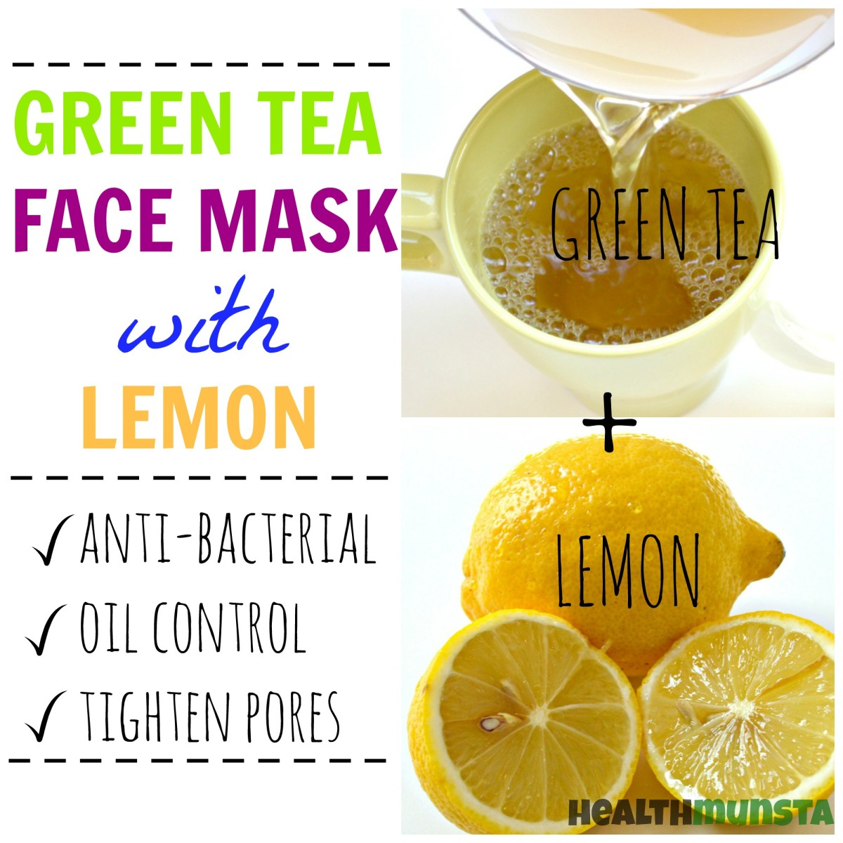 Combining the antibacterial goodness of lemon and natural astringent properties of green tea, this green tea and lemon face mask will help keep acne away!