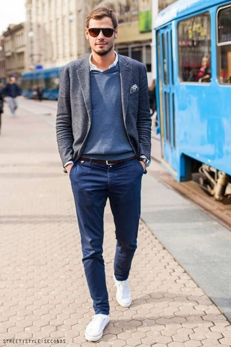 Low-top sneakers are great for a casual look.