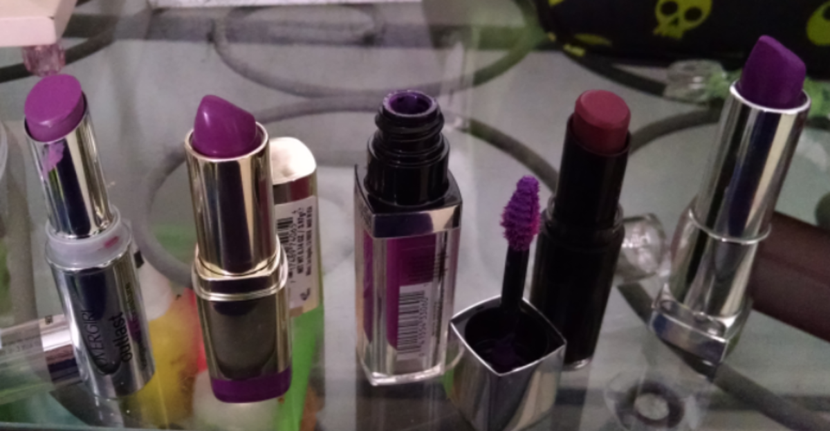 Left to right: Covergirl Vixen Violet, Milani Matte Glam, Maybelline Vision in Violet, Wet-n-Wild Ravin' Raisin, Maybelline Vibrant Violet