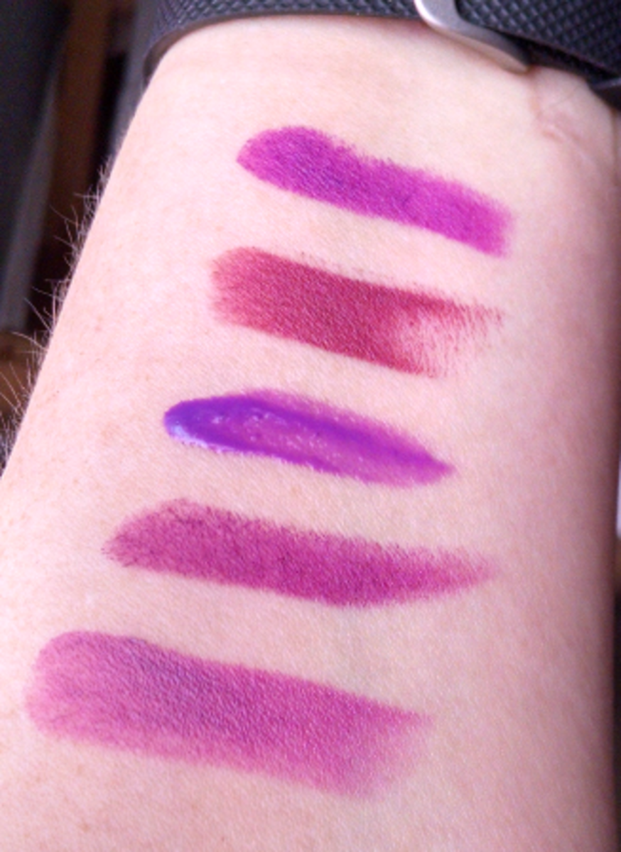 Top to bottom: Vibrant Violet, Ravin' Raisin, Vision in Violet, Matte Glam, Vixen Violet