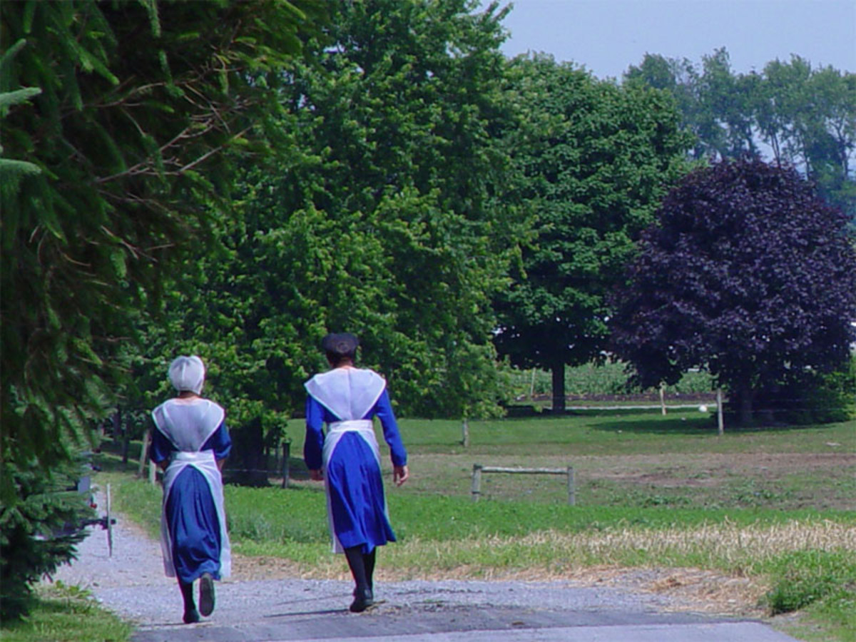 The traditional dress of Old Order Amish women is plain and modest.
