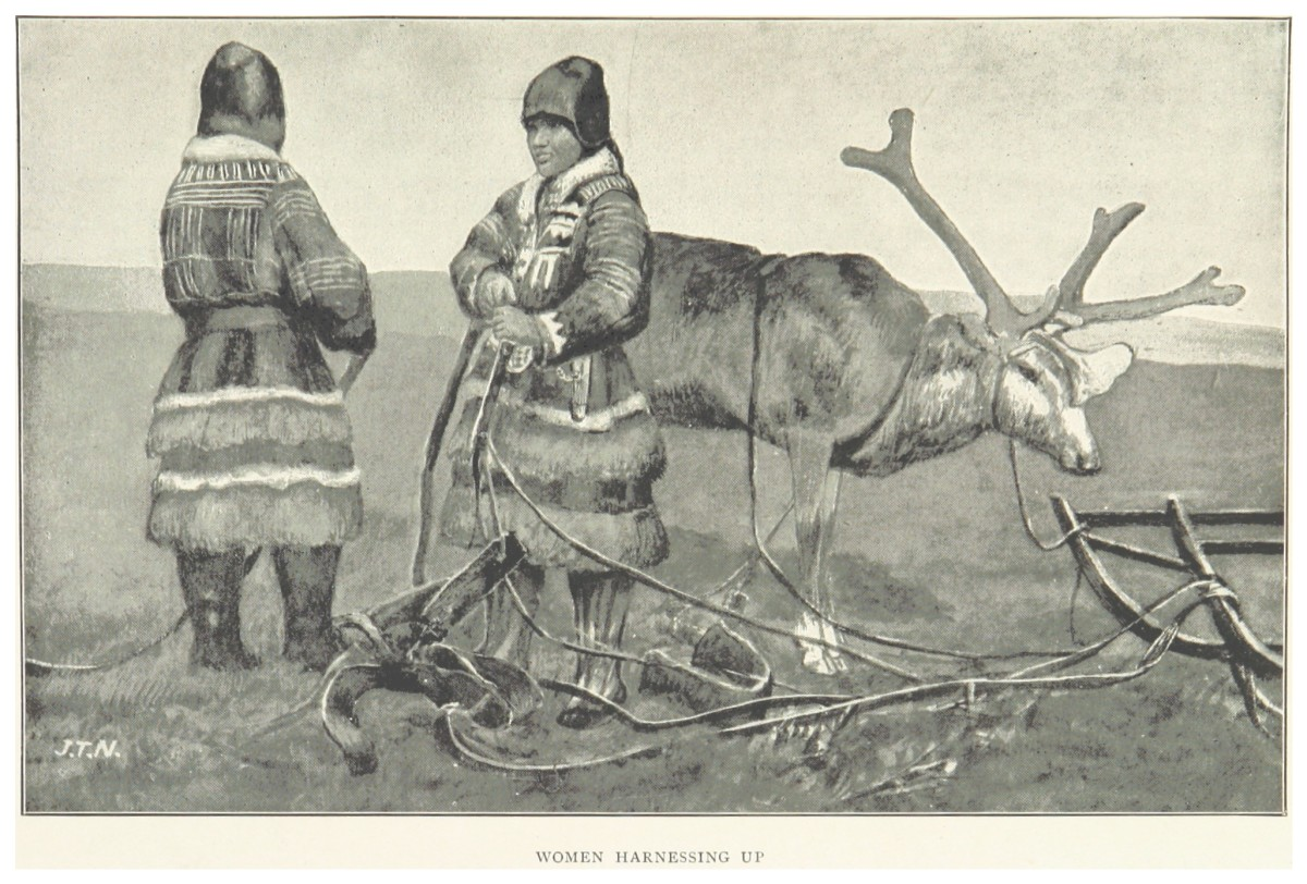 Historic Arctic Europeans - People living in cold climates wearing furs and padded garments for insulation.