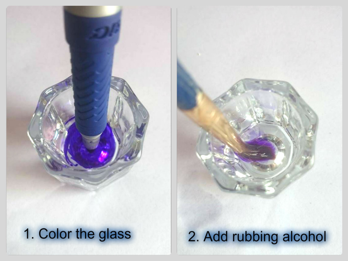 Color the glass and spritz some rubbing alcohol into the bottom of the glass, then swirl your paintbrush in it, squeeze the excess liquid onto the sides and paint.