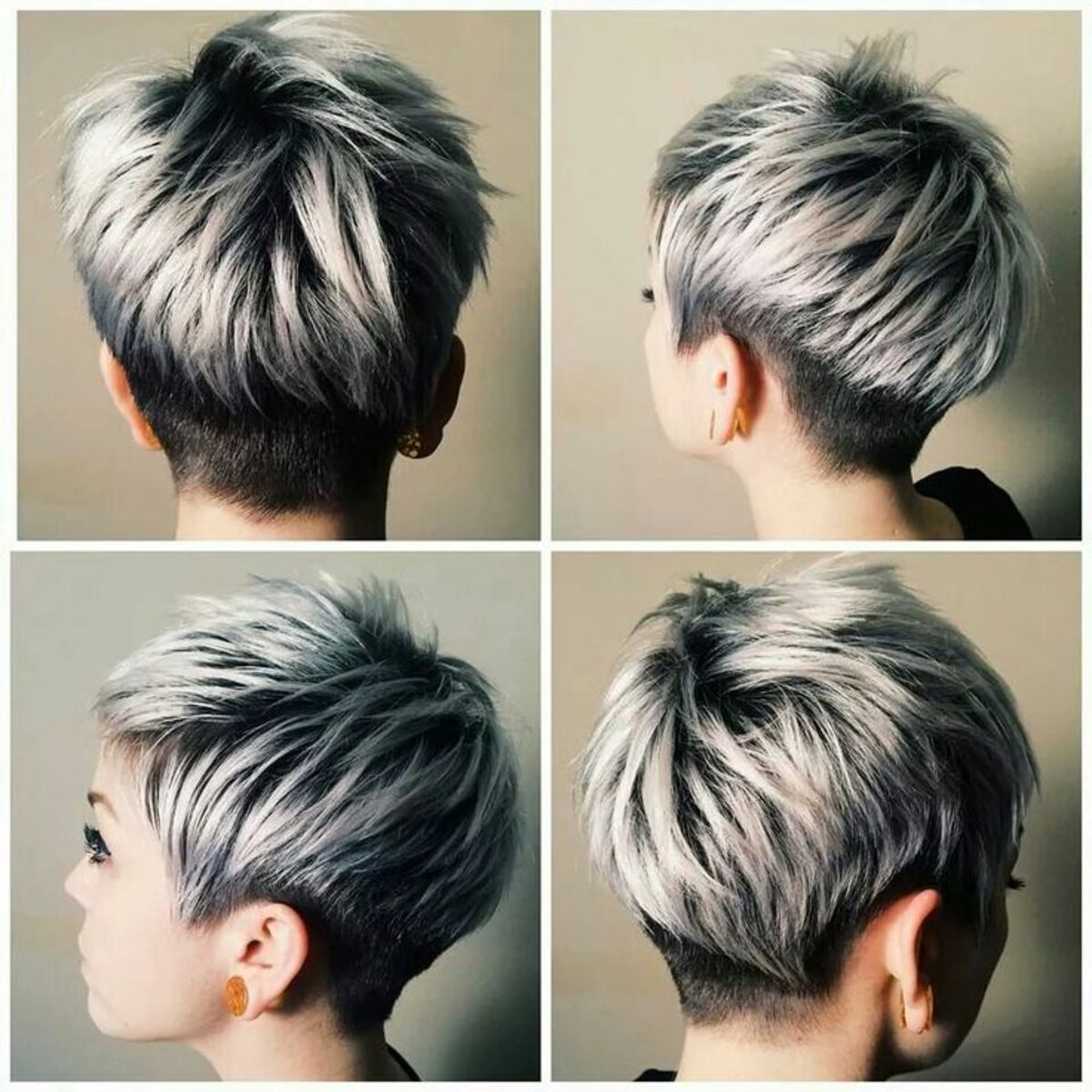 Short Hair With Frosted Gray Tips
