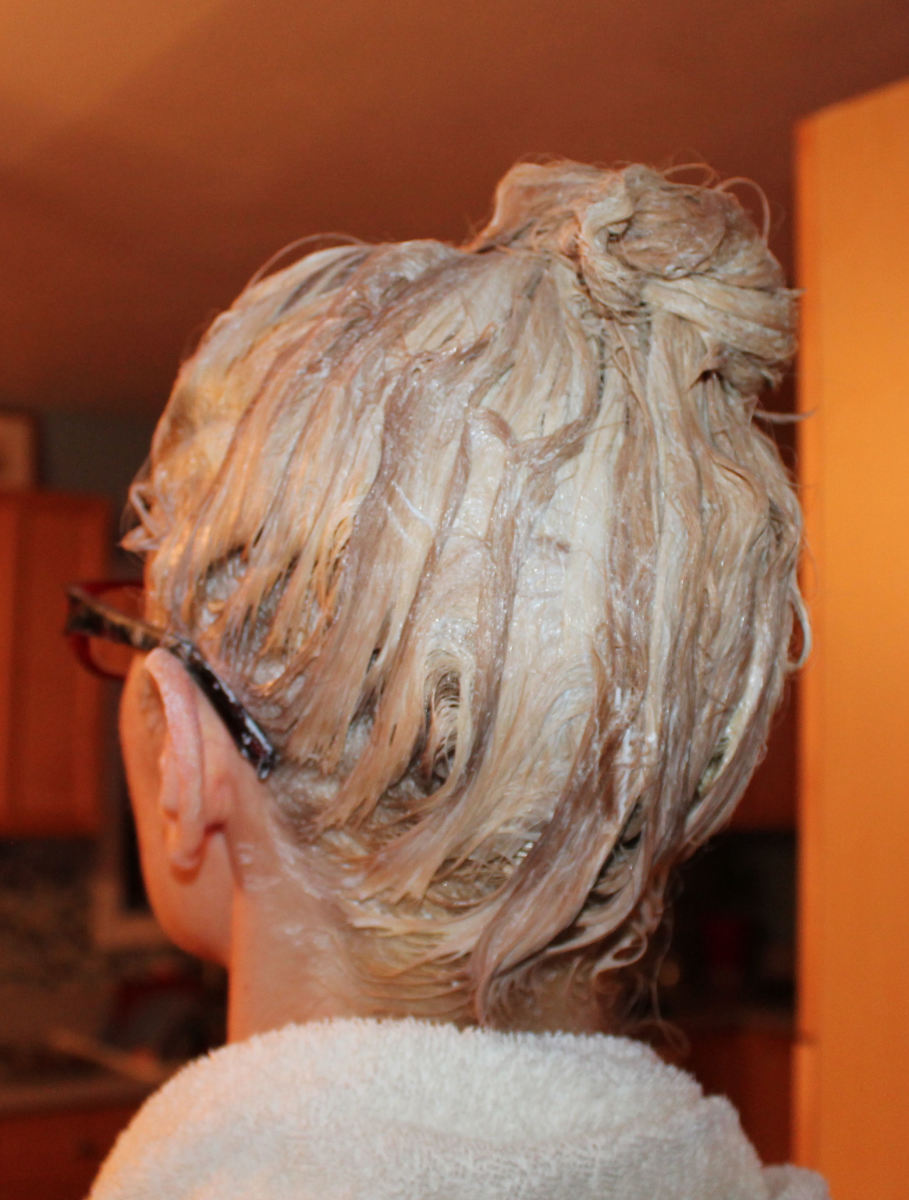 Hair bleaching in progress.