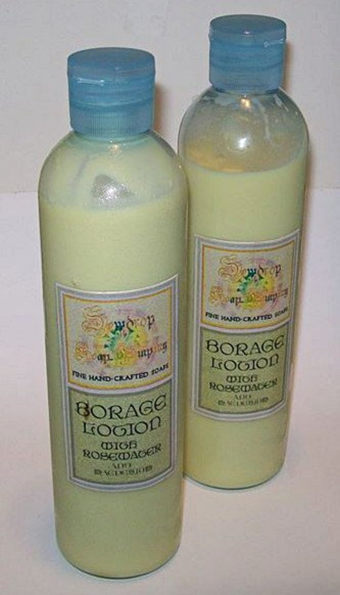 Finished lotion in bottles with a pretty homemade label.