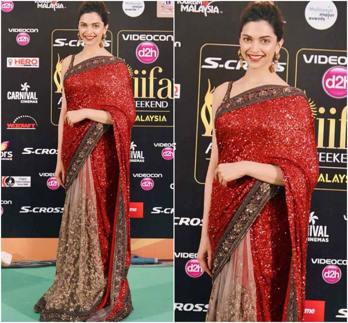 Deepika's shimmery half-and-half saree.