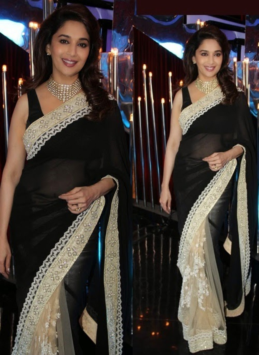 Madhuri's monochrome half-and-half saree.