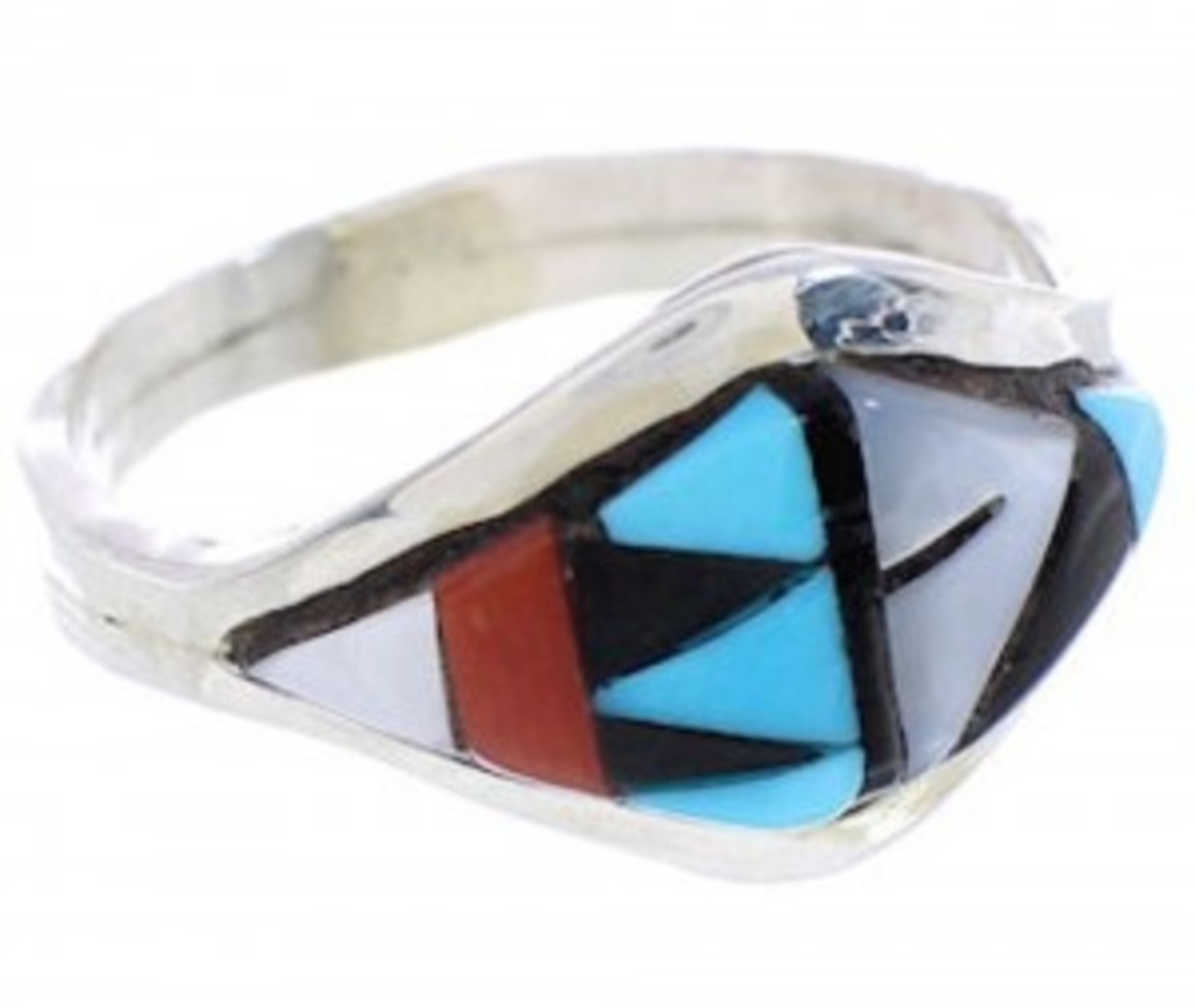 Zun silver inlay ring.  Turquoise, coral, jet and mother of pearl stones.