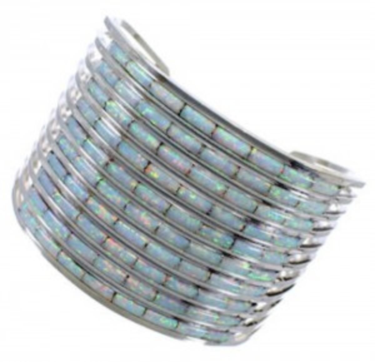 Zuni genuine sterling silver and opal inlay cuff bracelet.