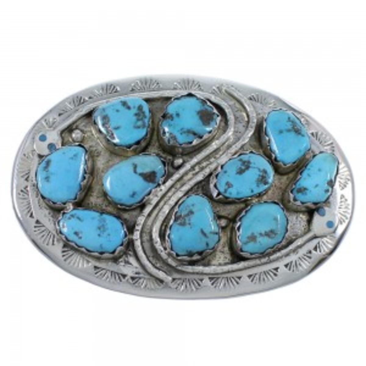 Zuni Effie Calavaza Snake Turquoise sterling silver buckle.