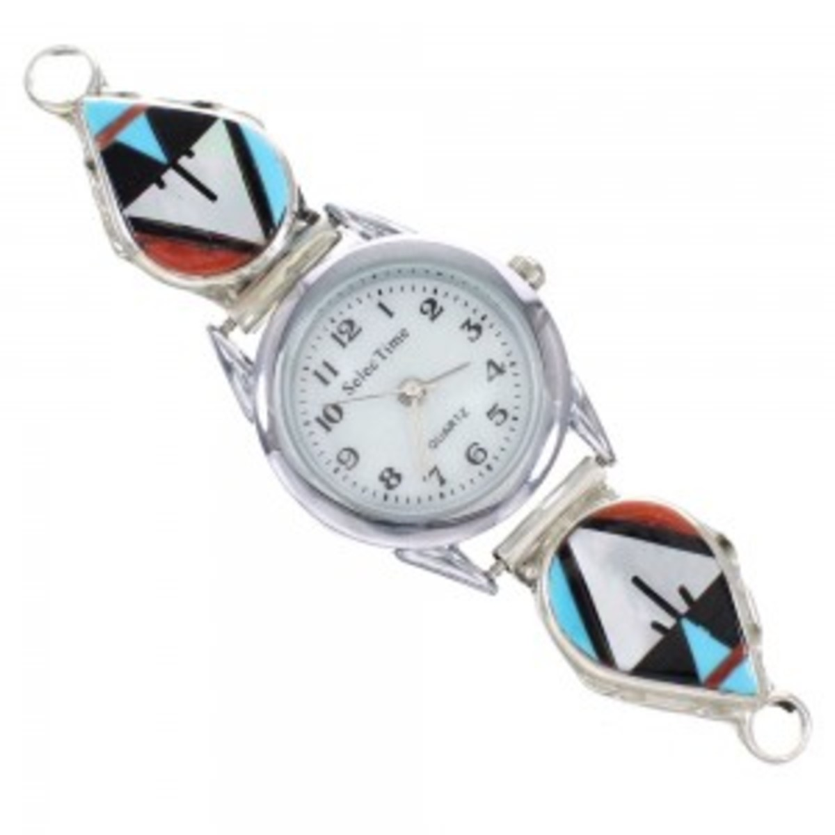 Zuni inlay watchband.  Turquoise, coral, jet and mother of pearl stones.