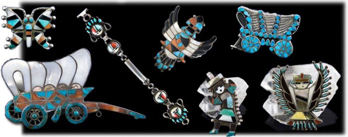 Beautiful Zuni Native American inlay jewelry.