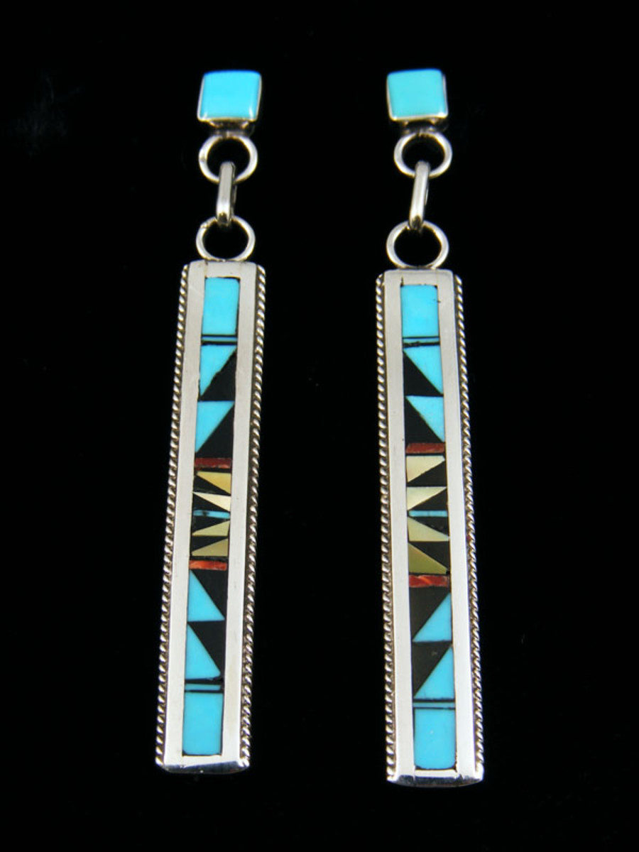 Zuni silver inlay earrings.  Turquoise, coral, jet, and mother of pearl stones.