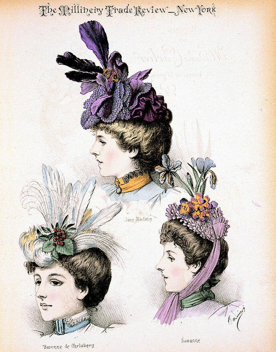 Hats circa 1897designed by Madame Emilie Carlier of Paris.