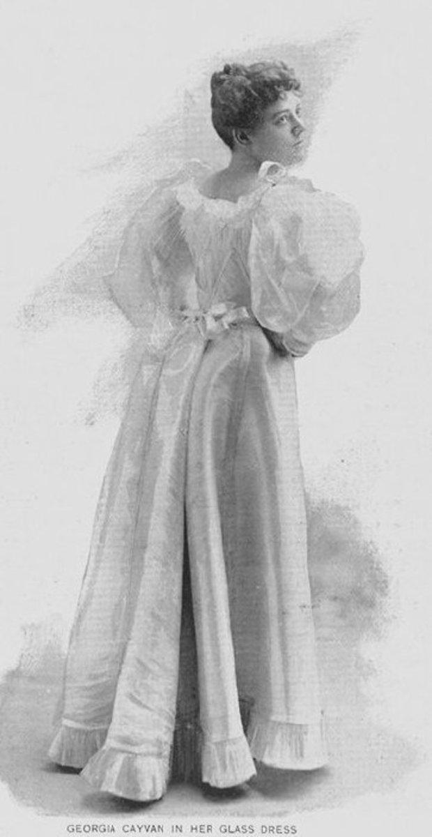 Dress with leg-o-mutton sleeves circa 1893.