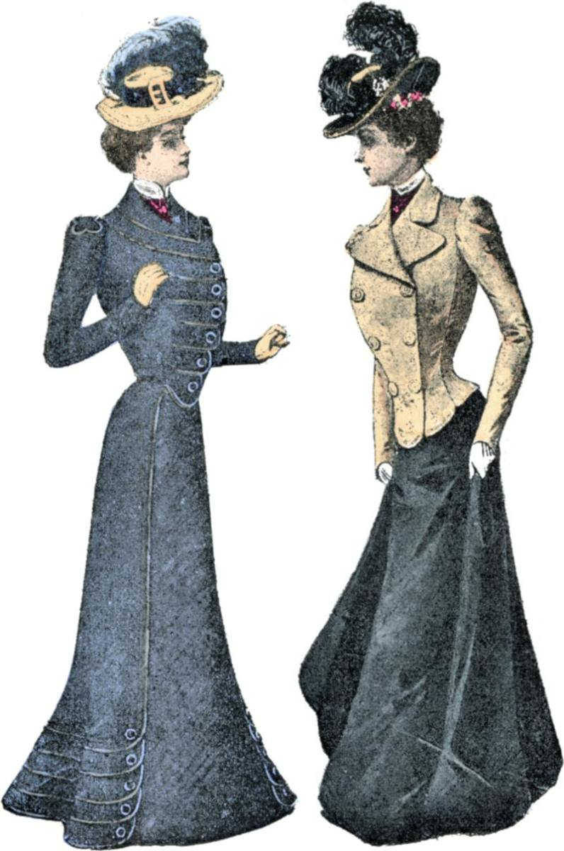 1899 women wearing suits—by this time, sleeves had lost their puffiness.