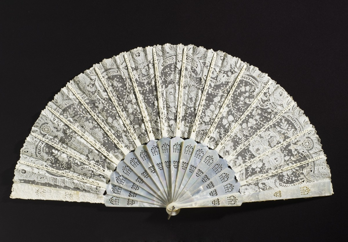 Fan constructed of bone, cotton lace, mother of pearl and metal 1880s