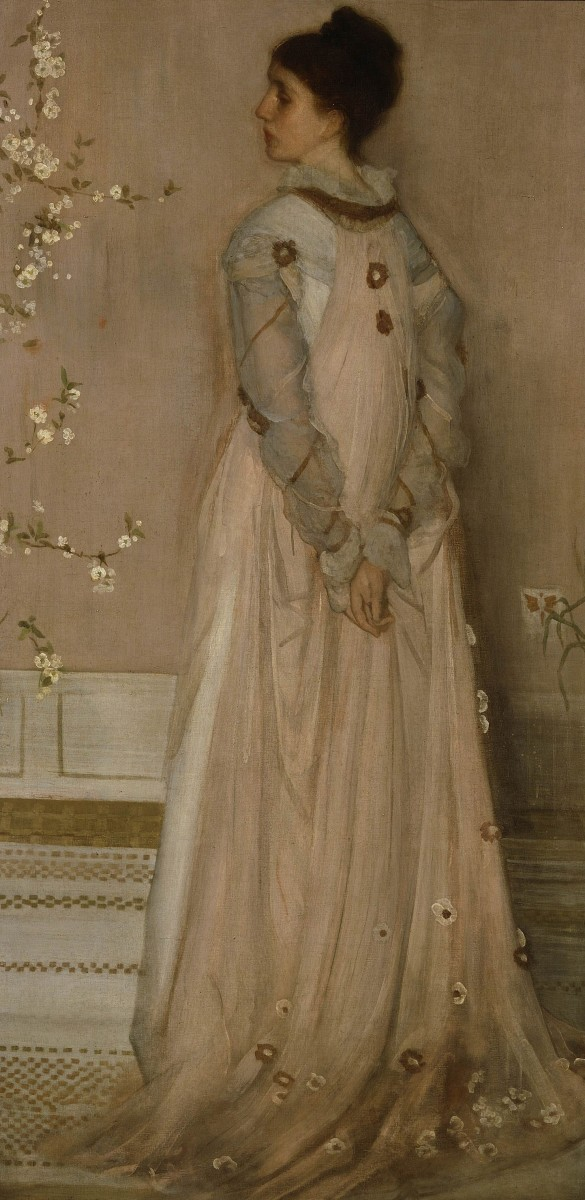 Tea gown - Whistler's Symphony  in Flesh Color and Pink