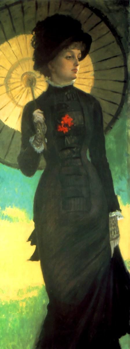 Princess line dress with very narrow skirt and parasol circa 1879