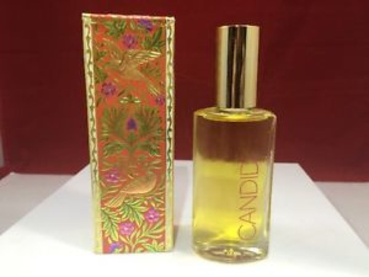 A vintage bottle of Avon Candid perfume.