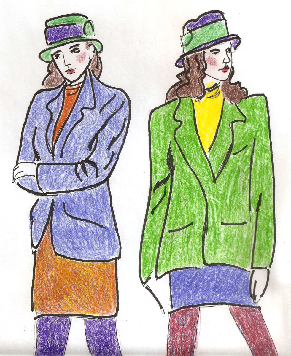 Mixed jewel-toned suits.
