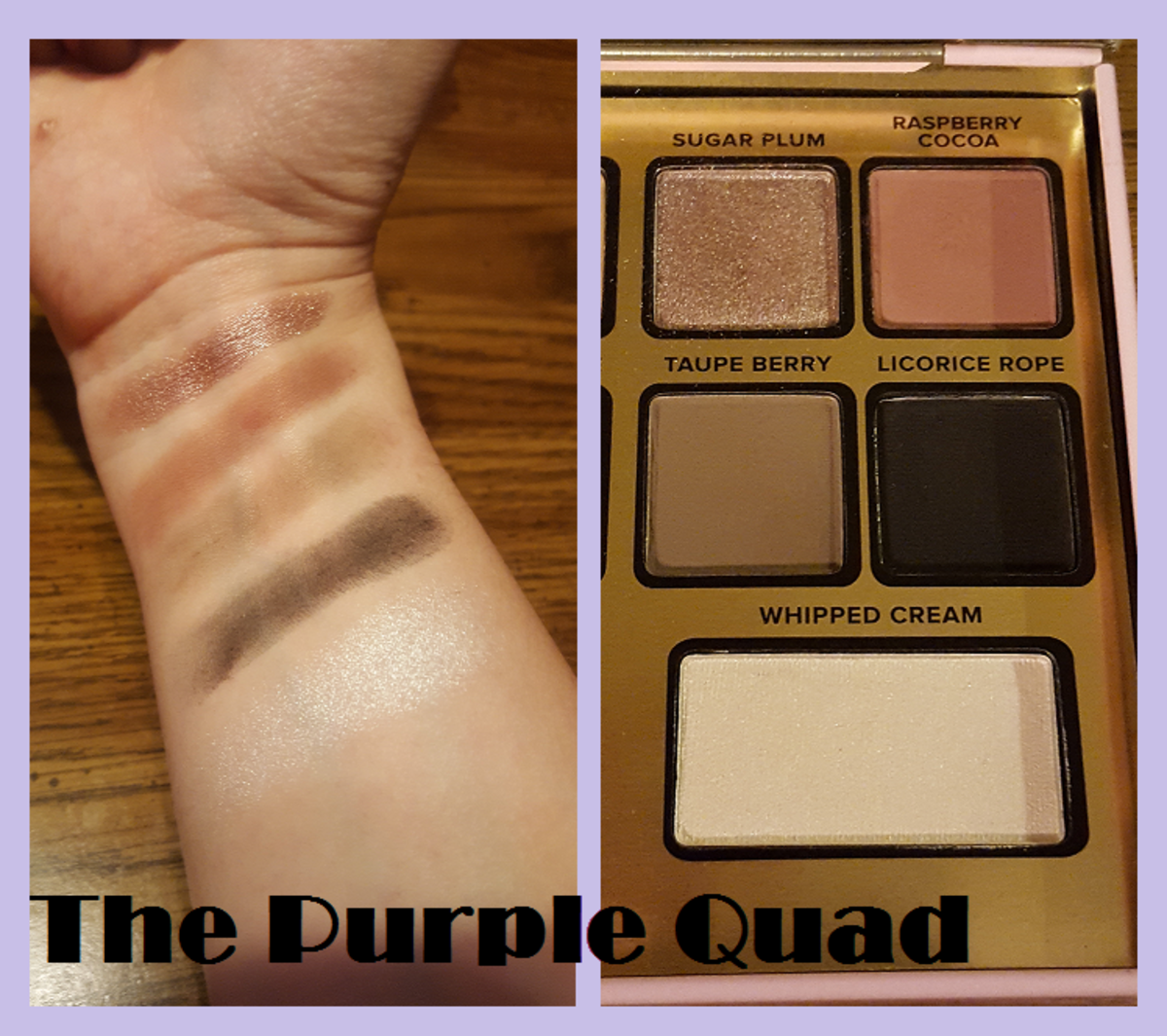 Finger swatches of the purple quad and highlight below it. From top to bottom: Sugar Plum, Raspberry Cocoa, Taupe Berry, Licorice Rope, and Whipped Cream.