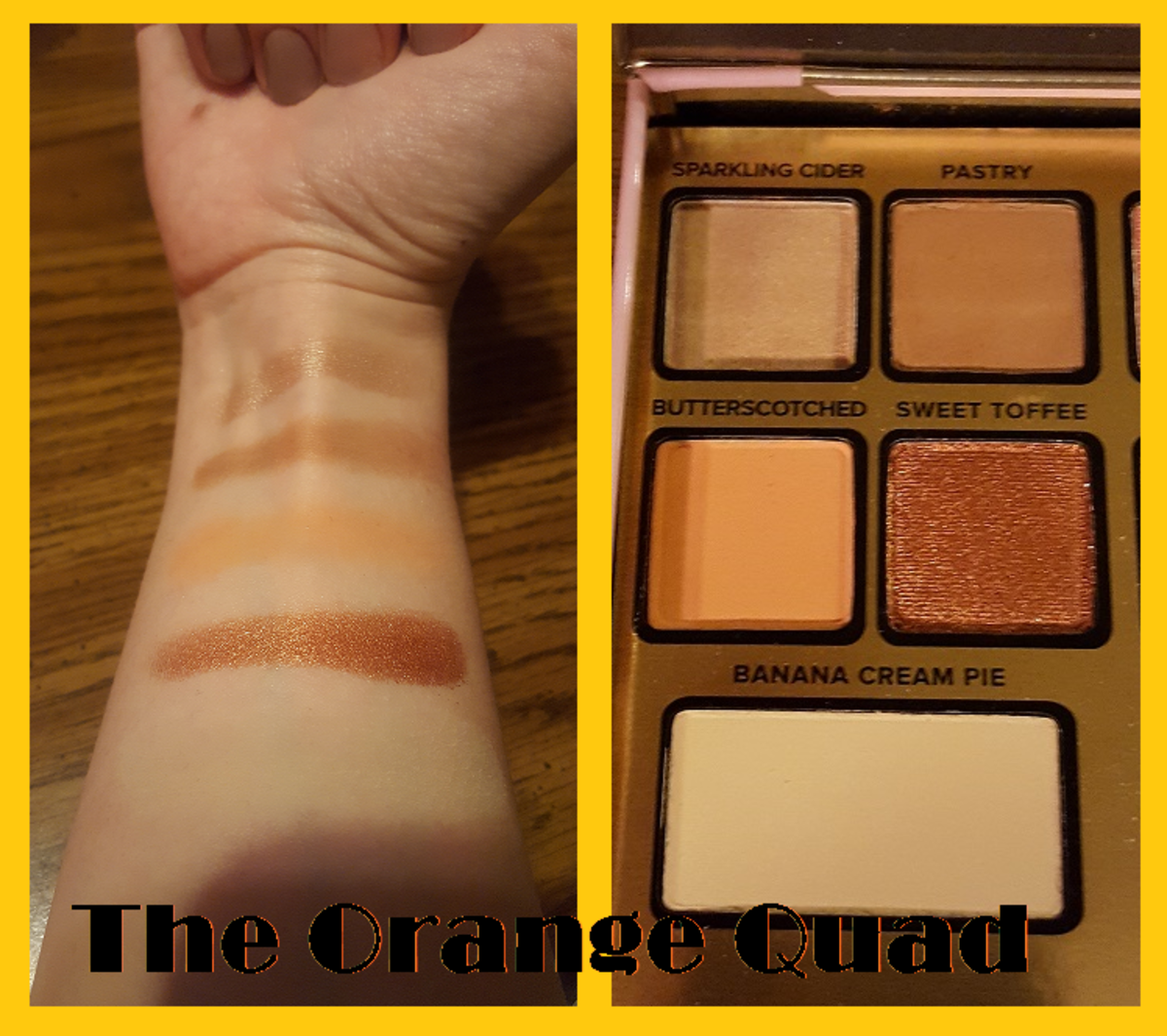 Finger swatches for the orange quad and the highlight below it. From top to bottom: Sparkling Cider, Pastry, Butterscotched, Sweet Toffee, and Banana Cream Pie (which is hard to see on my skin tone).