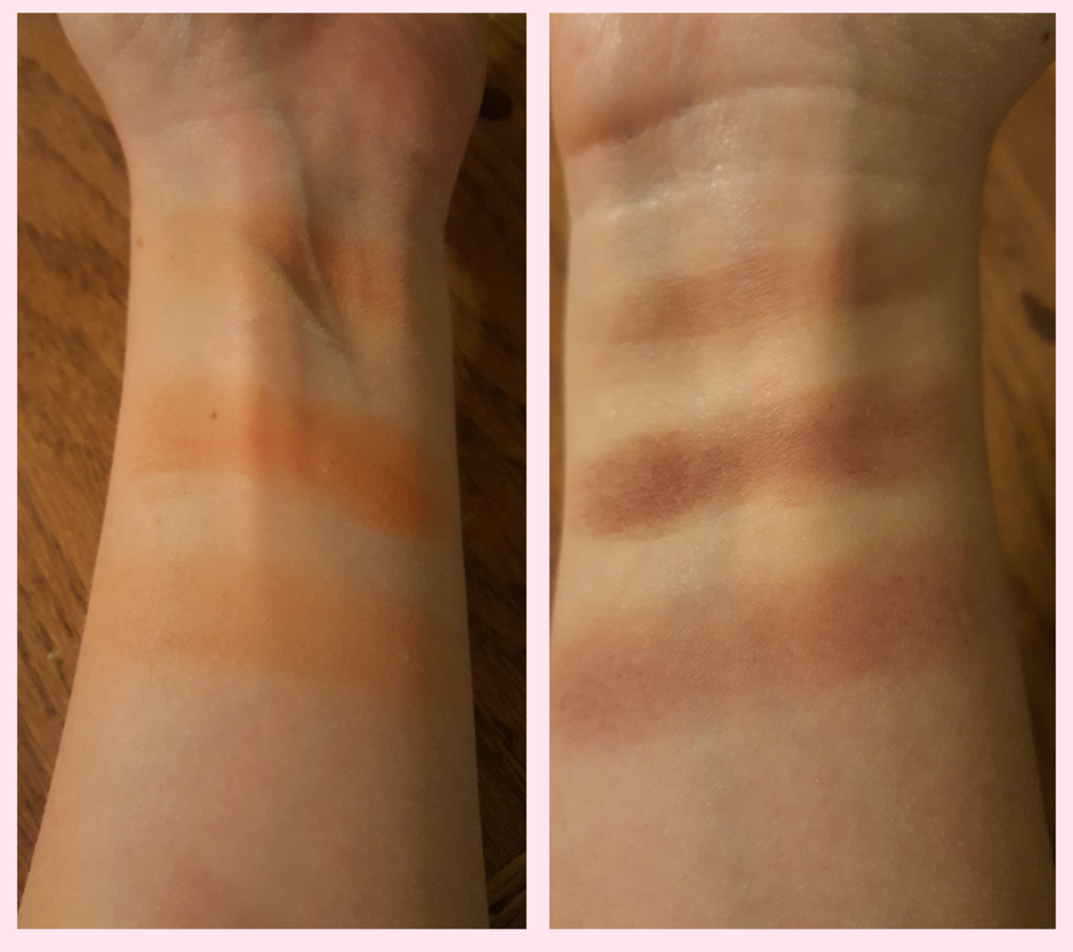 "A test of the ""transforming"" effect of the highlights in the I Want Kandee palette. On the left is Butterscotched, and on the right is Raspberry Cocoa. The top swatches have been layered with Banana Cream Pie and the bottom ones with Ice Cream."