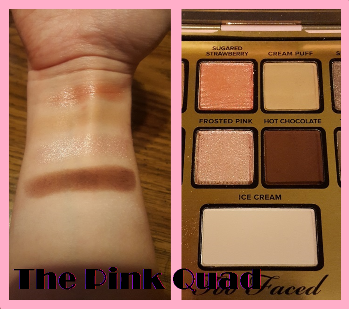 Finger swatches for the pink quad and the highlight below it. From top to bottom: Sugared Strawberry, Cream Puff, Frosted Pink, Hot Chocolate, and Ice Cream (which is hard to see on my skin tone).